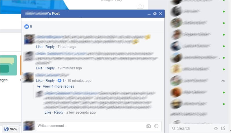 facebook comments in chat