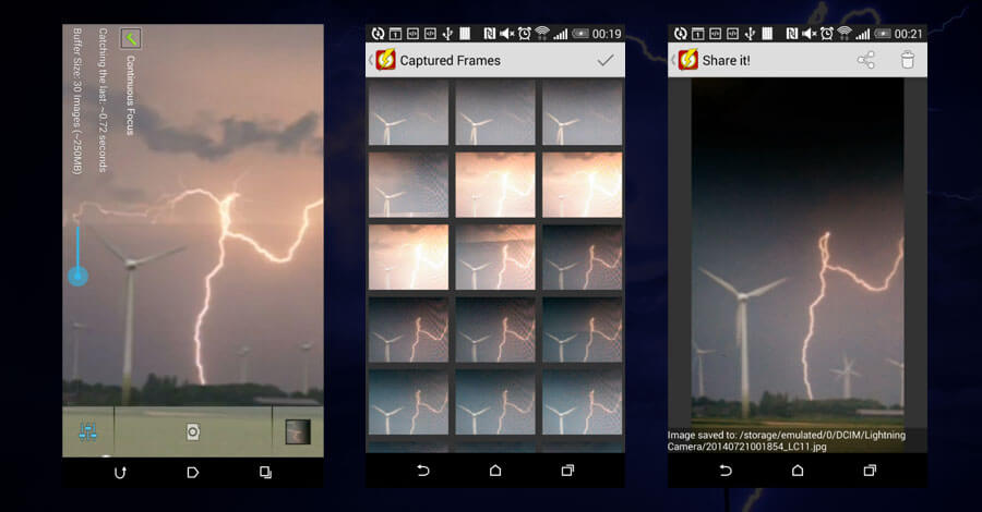 how to photograph lightning with android
