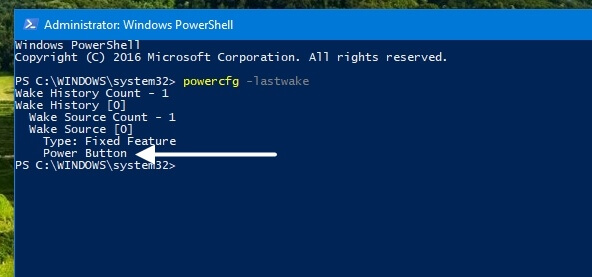 powercfg –lastwake windows 10