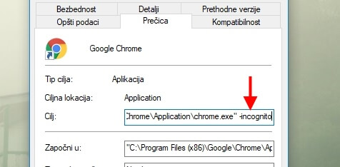 start browser in incognito default