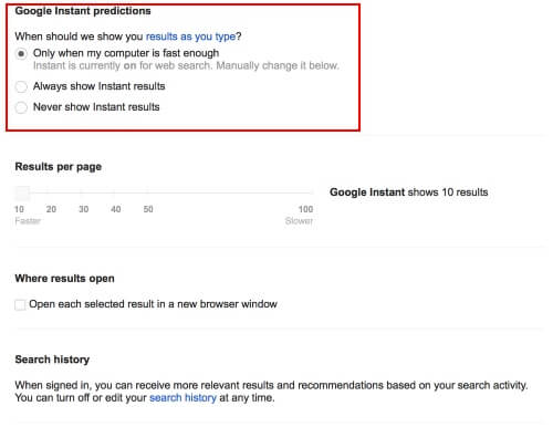 google instant search settings page