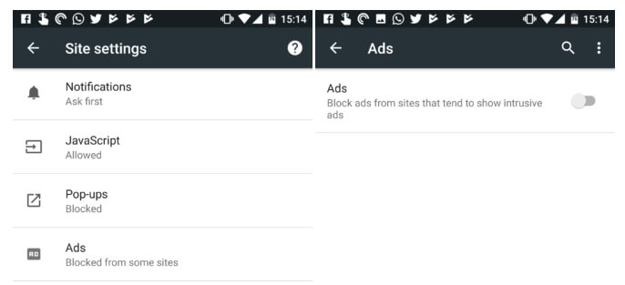 google chrome android block ads