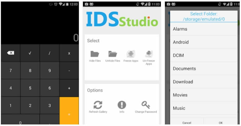 hide android files in calculator