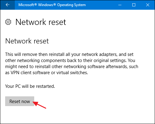 Windows 10 reset network 2